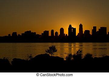 Sunrise over Seattle Skyline along Puget Sound