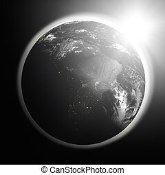 Sunrise over South America