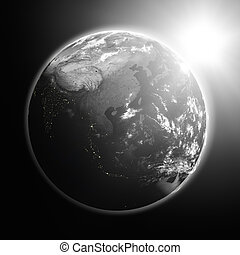 Sunrise over southeast Asia - Space view of the sun rising ...
