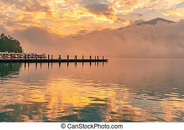Sunrise over Sun Moon Lake at Taiwan