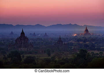 Sunrise over temples of Bagan in Myanmar