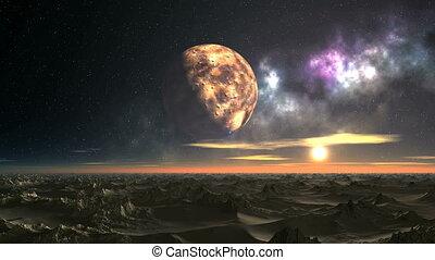 Sunrise over the Alien Desert