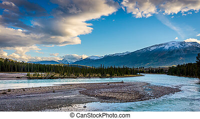 Sunrise over the Athabasca River - Daybreak over the...