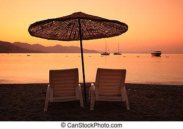 Sunrise over the bay of Turunc Turkey