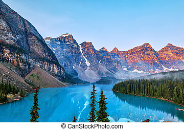 Sunrise Over the Canadian Rockies at Moraine Lake in Canada