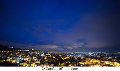 Sunrise over the city, Tivoli, Italy. Time Lapse
