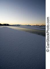 Sunrise over the Frozen Lake