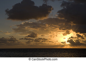 Sunrise over the Gulf of Mexico on Ambergris Caye, Belize.