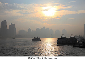 Sunrise over the Huangpu river in Shanghai, China