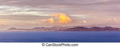 sunrise over the island of Fuerteventura seen from Lanzarote