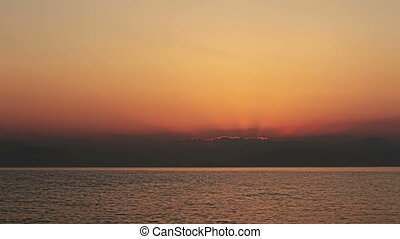 Sunrise over the Mediterranean Sea. Greece. - Sunrise over...
