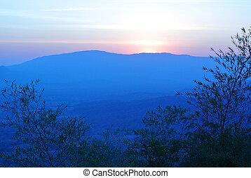 Sunrise over the mountain landscape, Morning