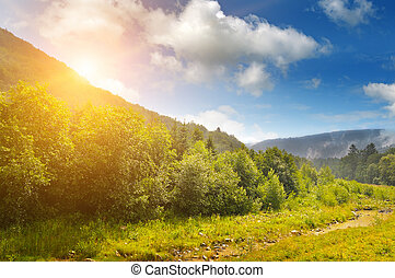 sunrise over the mountainside