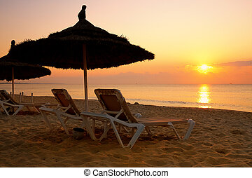 sunrise over the parasol on the beach, Tunisia - sunrise...
