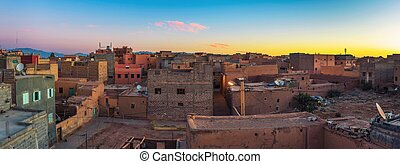 Sunrise over the roofs of Ouarzazate in Morocco