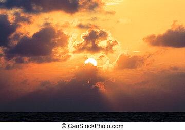 sunrise over the sea.
