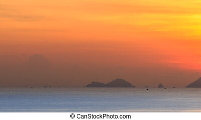 Sunrise over the sea. Timelapse.