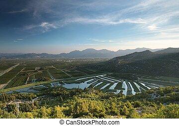 Sunrise over the valley in Croatia
