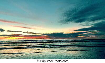 Sunrise over tropical island beach in Thailand. - Sunrise...