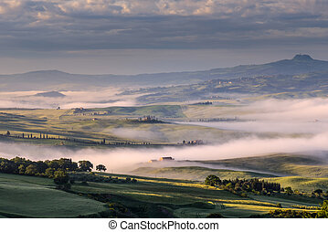 """Sunrise over Val d""""Orcia in Tuscany"""