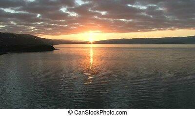 Sunrise over Wellington harbour.