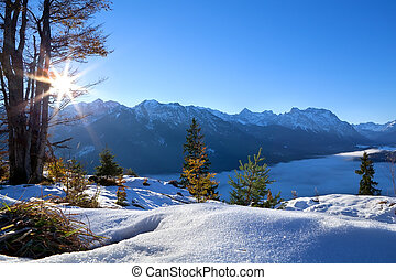 sunrise over winter Alps