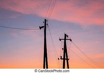 sunrise, power poles