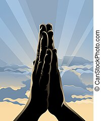 Sunrise Prayer - Illustration of hands folded in prayer in...