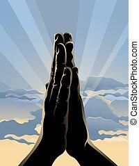 Sunrise Prayer - Illustration of hands folded in prayer in ...