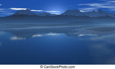 Sunrise reflected in water