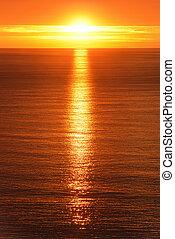 Sunrise reflected on the ocean