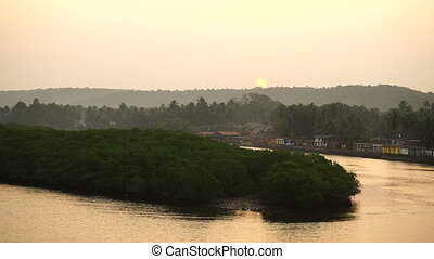 Sunrise. River. Boat.