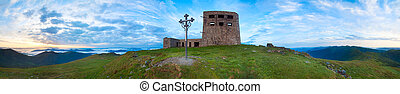 Sunrise ruins panorama on Pip Ivan mountain