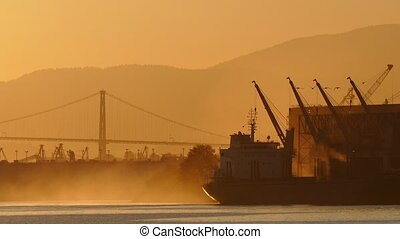 Sunrise Scene Of Ship In The Bay
