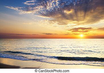 sunrise sea scape - orange mystic sunset on the sea. ...