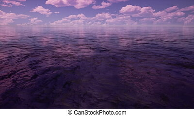 sunrise sea with purple color by 3D rendering scene
