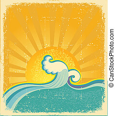 Sunrise seascape. Symbol vector abstract