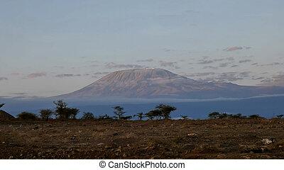 sunrise shot of mt kilimanjaro at amboseli