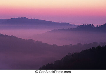 Auxier Ridge - Sunrise showing the layed mountains off ...