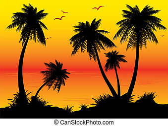 Sunrise. - Silhouettes of palms on a ocean background. ...