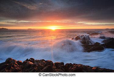 Sunrise skies Port Stephens - Sunrise skies and ocean waves...