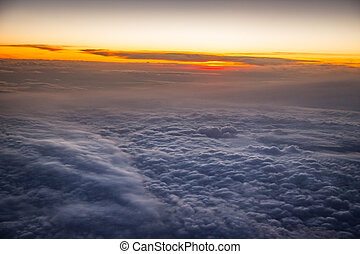 Sunrise sky from the airplane window