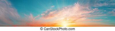 Sunrise sky panorama with bright sun