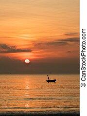 Sunrise Sky With Fishing Boat