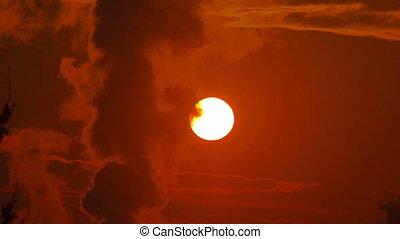 sunrise smoke from factory big sun 4k