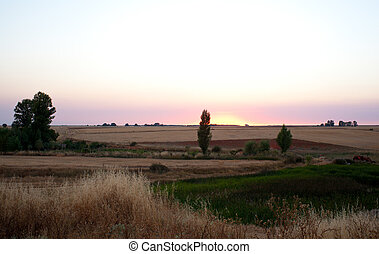 Sunrise, Spanish countryside - Sunrise, View of Spanish...