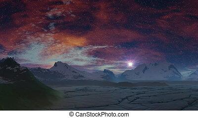 Sunrise stars (UFO) over the ice