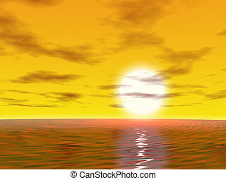Sunrise with ocean and sky. 3d render.