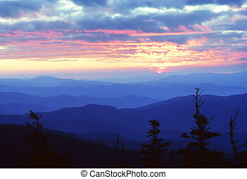 Sunrise as viewed from Cling\'s Dome in the Great Smoky...
