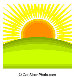 Sun rising behind green hill horizon. Vector illustration